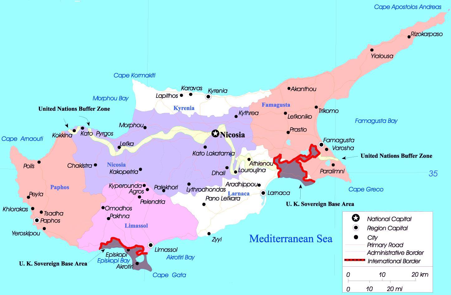 Kypr Mapa Mesta Mapa Kypru Mest Jizni Evropa Evropa