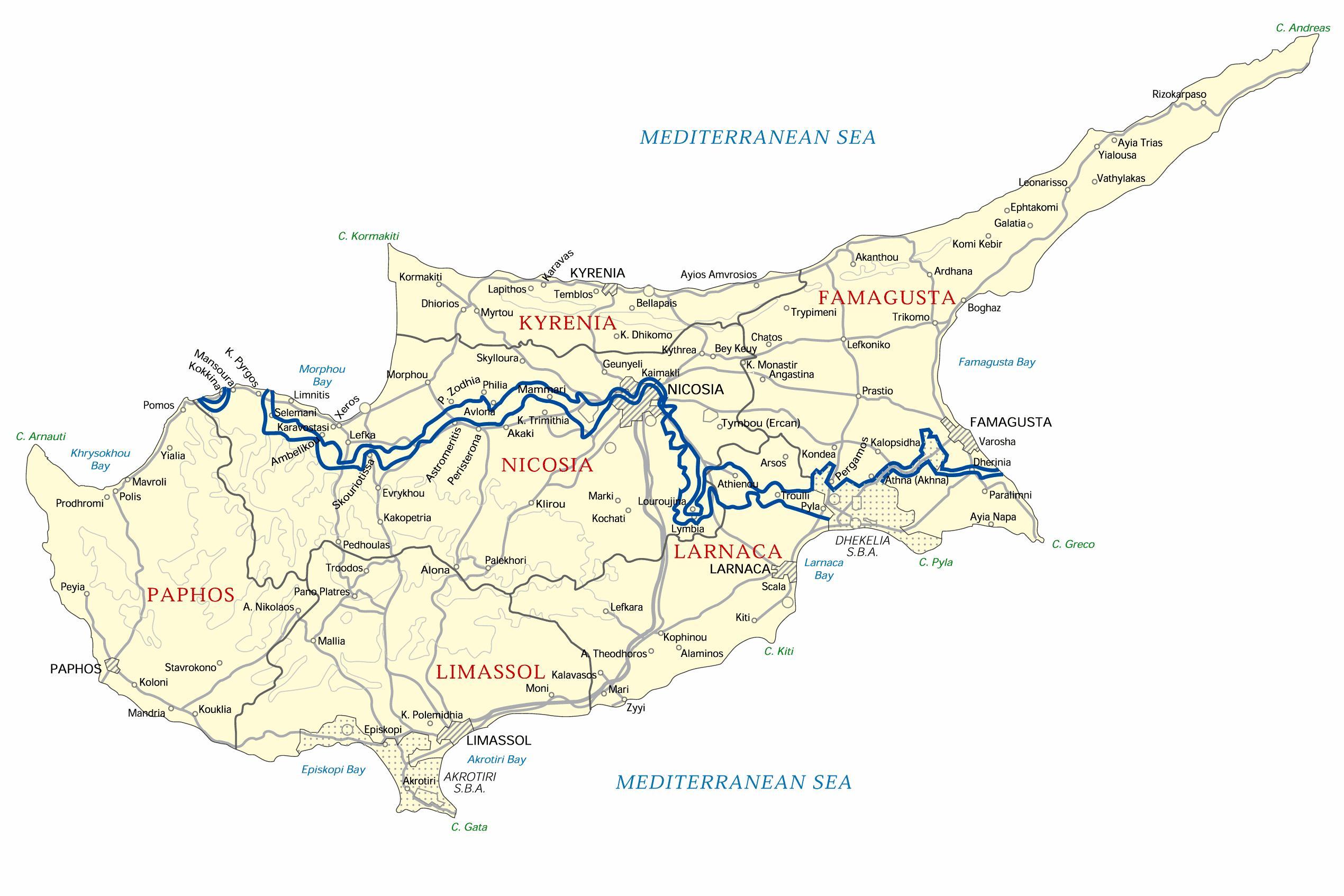 Kypr V Rezimu Offline Map Mapa Kypru Offline Jizni Evropa Evropa