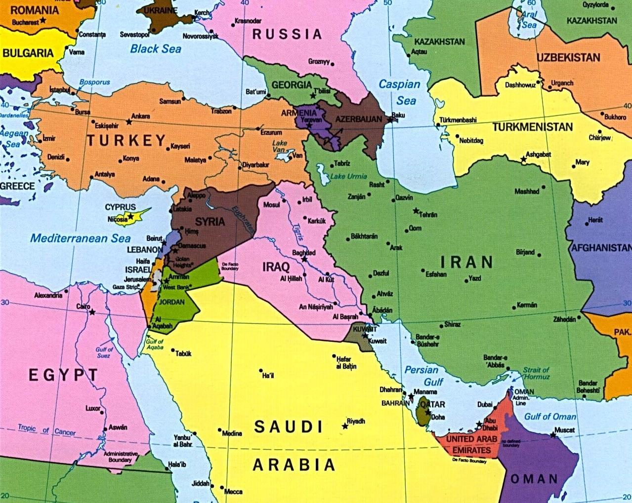Kypr Mapa Stredniho Vychodu Mapa Kypru A Blizkem Vychode Jizni